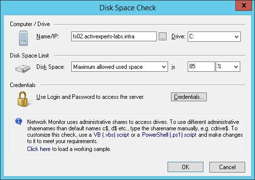 Monitor Disk Space
