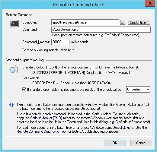 Monitor using a Remote Command Job