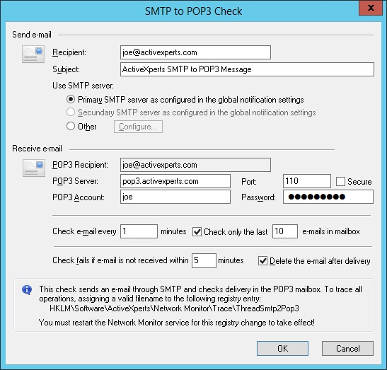 Monitor SMTP to POP3